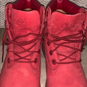WOMENS RED & GREY TIMBERLAND BOOTS